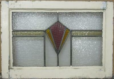 "OLD ENGLISH LEADED STAINED GLASS WINDOW Stunning Geometric Band 22.25"" x 15.5"""