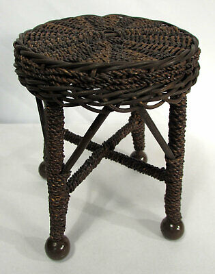 Vintage Seagrass & Wicker Miniature Stool Side Table Doll Salesman Sample 8""