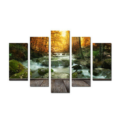 Waterfall Landscape Poster Print Painting Picture Canvas Modern Living Room Deco