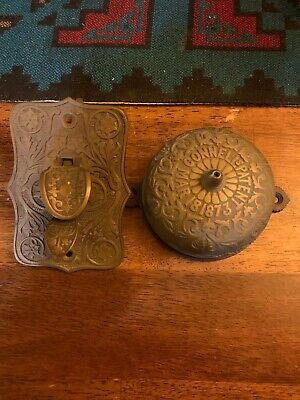 Antique c. 1873 CONNELL'S PATENT Brass Door Bell + Striking Lever Working RING!