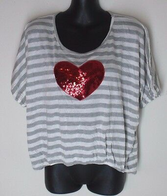 Junior's EXTRA SMALL Paper Chain Red Sequin Heart oversized top shirt gray white