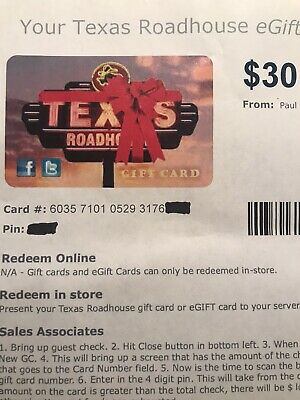 $60 Texas Roadhouse Gift Card    NO EXPIRATION DATE    FAST FREE DELIVERY
