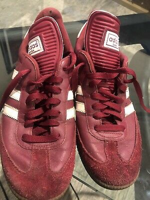 ADIDAS SAMBA HEMP Shoes Men's Maroon Striped Sneakers Gum