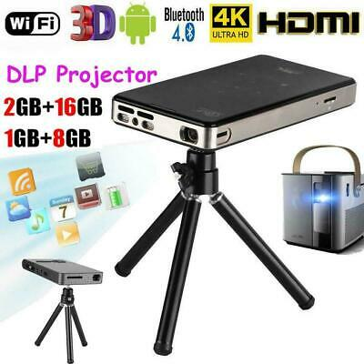 4K Smart DLP Mini Projector Android WiFi Bluetooth 1080P 2+16G Home Cinema HDMI
