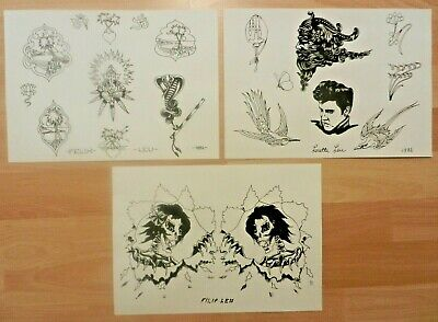 vintage filip loretta felix leu tattoo flash sheets reprints NOT MACHINE