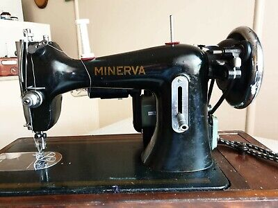 Vintage Minerva Czechoslovakia Electric Sewing Machine & Carry Case
