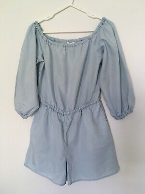 Witchery Womens Size 8 Pale Blue Jumpsuit Shorts Playsuit Lyocell