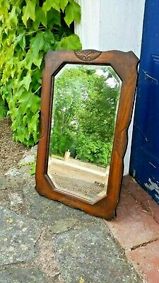 Antique Bevelled Solid Oak Wood CARVED Wall MIRROR - Fabulous!