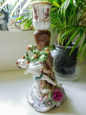Antique Dresden German Figural Candlestick with Applied Floral Decoration C.1817