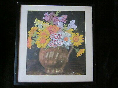 Very Old 20's 30's Floral Marigold Pastel Painting Framed