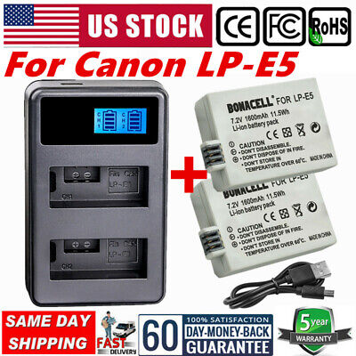LP-E5 Battery /Charger For Canon Rebel T1i XS XSi 450D 500D 1000D Kiss X3 Kiss F