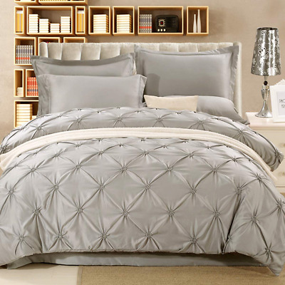 Pintuck Duvet Cover King 3 Pieces Light Grey Pinch Pleat Bedding Duvet Cover for