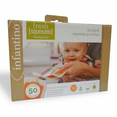 Infantino Fresh Squeezed Squeeze Baby Food Pouches - 50 Pouch Pack
