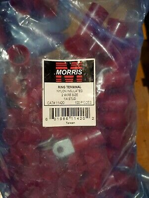 Bag of 100 Morris Nylon Insulated Ring Terminal 2 Wire Size 1/4 Stud - 11420