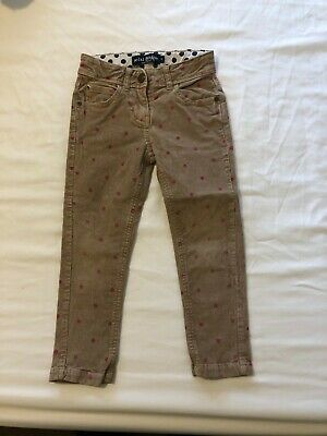 Mini Boden Cord Trousers 5 years. Beige/Sand with pink spots