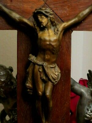 ART DECO VINTAGE FRENCH WOODEN CRUCIFIX / CROSS ~ WALL HANGING 1930's  35 cm.