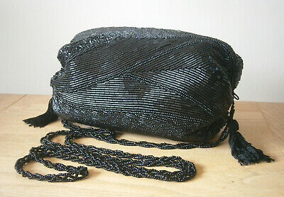 VINTAGE 1980s SMALL BLACK BEADED CROSS BODY BAG SHOULDER BAG WITH TASSEL TRIM