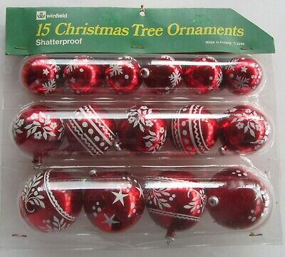 vintage Christmas tree decorations 1970s Winfield Woolworths red white Finland