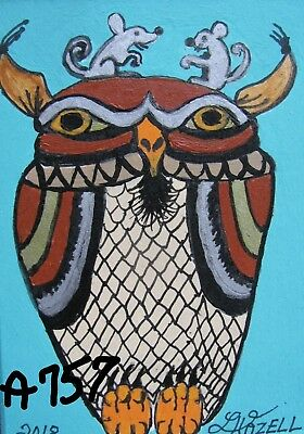 "A757        Original Acrylic Aceo Painting By Ljh  ""Owl With Two Mice"""
