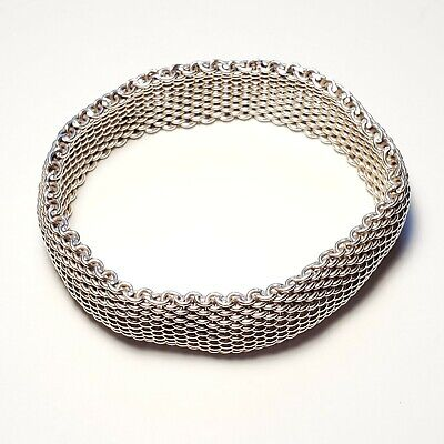 Tiffany & Co. Somerset Mesh Wide Bracelet Bangle Cuff 925 Sterling Silver 7.5""