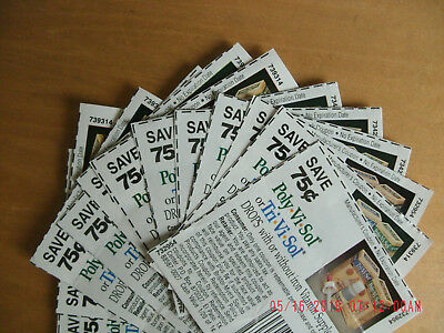 Lot of 12 Poly Vi Sol Tri Vi Sol coupons 75 cents off no expiration date