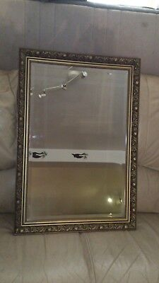 Full Length Gold//White Wall Mirror Bevelled Quality Glass 130x45cm Wood Frame