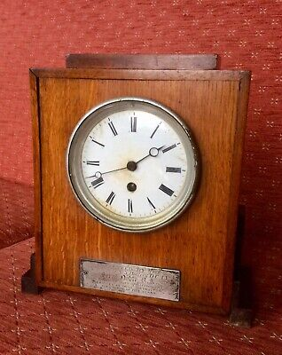 Antique Swiss Mantel Clock,1869 Silver Plaque,Pendulum,Working,Winding Key,Oak