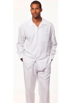 Men MONTIQUE 2pc Walking Leisure suit Long Sleeve Set 1641 Solid White Party New