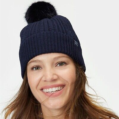 Joules Ladies Fine Cable Knit X Bobble Hat - Navy Blue One size (New with Tags)