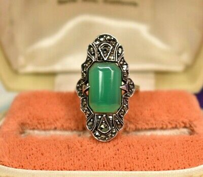 Antique German Art Deco sterling silver chrysoprase marcasite ring sz 7.75