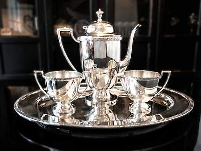 Antique Silverplate Tea Set With Tray Rosette By Forbes Silver Co
