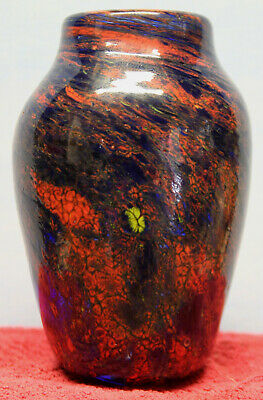 "Fine Hand Blown Multicolor Millefiori Art Glass 4-1/8"" tall Vase Blue Red Pontil"