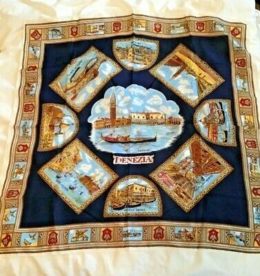 Vintage Venice souvenir scarf. Local scenes. Hand stitched edges.