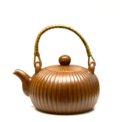 Fine Chinese Carved Wicker Yixing Zisha Purple Clay Ceramic Teapot with Mark