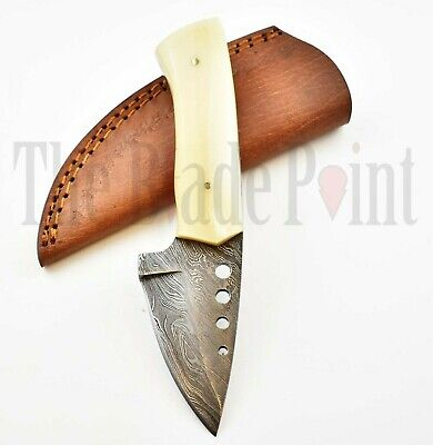 Custom Handmade Damascus Steel Fixed Blade Hunting Skinner Knife Survival Sheath