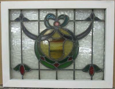"MIDSIZE OLD ENGLISH LEADED STAINED GLASS WINDOW Nice Bow & Swag 25.75"" x 20.25"""