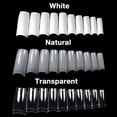 500 Artificial French False Acrylic Nail Art Tips White Clear Natural UV Gel US