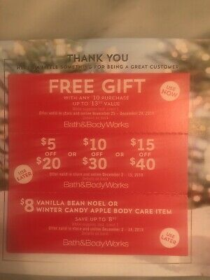 3 Bath and Body Works Coupons Gift & $15 Off $40 & $8 Body Care Item