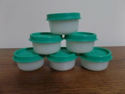 Tupperware Smidgets Sheer w/ Teal Seals ~ Set of 6 ~ Mini 1 oz Containers ~ NEW