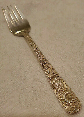 """S Kirk & Son Sterling Silver Salad Fork Repousse 6 1/4"""" 35.42g"""