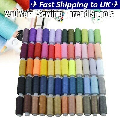 250 Yard Spools 60 Colors Polyester Sewing Thread Reel Machine Hand Cord Set