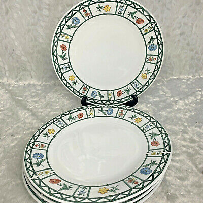 """Lot of 4 Lynns Fine China Mayflower Dinner Plate Floral Pattern 10.25"""""""
