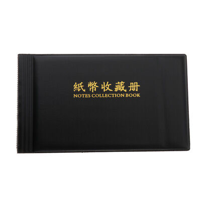Black Currency Paper Money Collection Album Book 20 Pages Banknote Holder