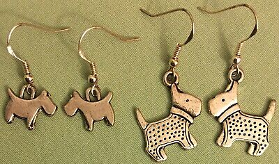 SCOTTIE DOG EARRINGS or NECKLACE - Pewter with SS Ear Wires - Choose - TERRIER