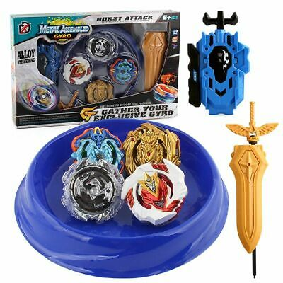 4PCS Boxed Beyblade Burst 4D Set With Launcher Arena Metal Fight Battle Xmas Toy