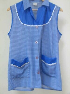 Vintage Apron Blue Check Gingham Nylon House Coat Pinni  Overall Size 18 - 20