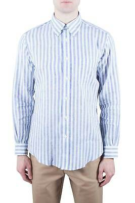 BROOKS BROTHERS Uomo - Camicia button-down Regent Fit  in lino bianco a righe...