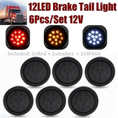 6x 12V 12 LED Trailer Tail Light Indicator Reverse Lamp Red+White+Amber Smoked