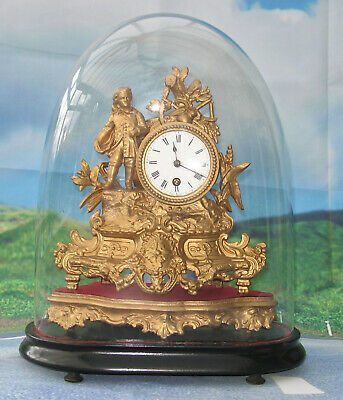 Antique Clock - French Spelter Figural Clock with Glass Dome