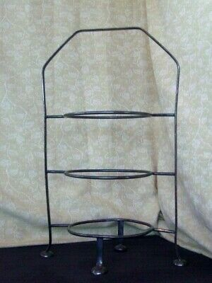 A1 Silver Plated Three Tier Cake, Plate Stand~41Cm High~Takes 23.5Cm Plates